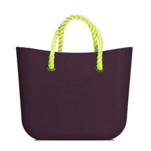 O bag kabelka MINI Melanzana s neonově žlutými krátkými provazy